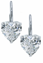 1.5 Carat Each Heart Shape Cubic Zirconia Leverback Earrings