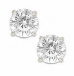 1.5 Carat Each Round Cubic Zirconia 18K White Gold Screwback Earrings