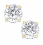 1.5 Carat Each Round Cubic Zirconia 18K Yellow Gold Screwback Earrings