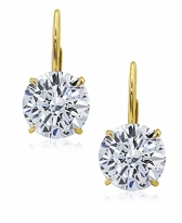 1.5 Carat Each Round Cubic Zirconia Leverback Stud Euro Wire Earrings