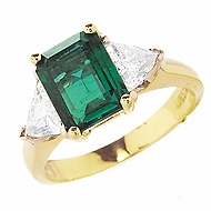 1.5 Carat Emerald Cut with Trillions Ring Cubic Zirconia Engagement Ring
