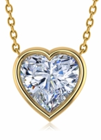 1.5 Carat Heart Shaped Bezel Set Cubic Zirconia Solitaire Pendant