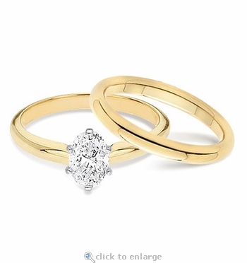 1.5 Carat Oval Classic Solitaire Engagement Ring with Matching Band Wedding Set