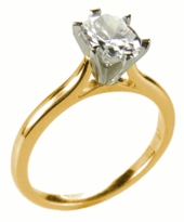 1.5 Carat Oval Cubic Zirconia Cathedral Solitaire Engagement Ring