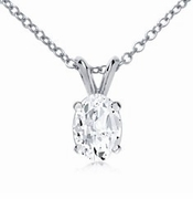 1.5 Carat Oval Cubic Zirconia Classic Solitaire Pendant in 14K White Gold