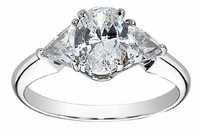 1.5 Carat Oval with Trillions Three Stone Cubic Zirconia Engagement Ring