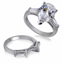 1.5 Carat Pear Cubic Zirconia Baguette Solitaire with Matching Band Wedding Set