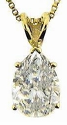 1.5 Carat Pear Cubic Zirconia Classic Solitaire Pendant in 14K Yellow Gold