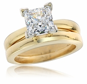 1.5 Carat Princess Cut Cubic Zirconia Cathedral Solitaire with Matching Wedding Band Set