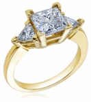 1.5 Carat Princess Cut Square with Trillions Cubic Zirconia Three Stone Ring