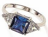 1.5 Carat Princess Cut with Trillions Three Stone Cubic Zirconia Engagement Ring