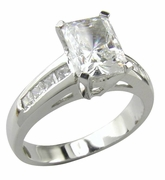 1.5 Carat Radiant Emerald Cut Channel Set Princess Cut Cubic Zirconia Solitaire Engagement Ring