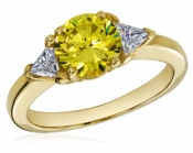 1.5 Carat Round Canary with Trillions Cubic Zirconia Three Stone Ring