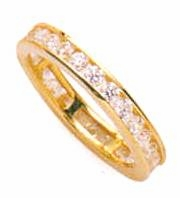 1.5 Carat Round Channel Set Cubic Zirconia Eternity Wedding Band - Small