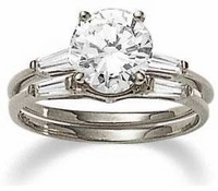 1.5 Carat Round Cubic Zirconia Baguette Solitaire with Matching Band Wedding Set