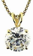 1.5 Carat Round Cubic Zirconia Classic Solitaire Pendant in 14K Yellow Gold