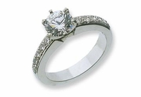 1.5 Carat Round Cubic Zirconia Pave Set Single Row Solitaire Engagement Ring