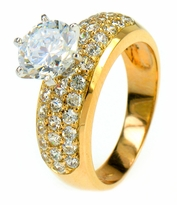 1.5 Carat Round Cubic Zirconia Pave Set Three Row Solitaire Engagement Ring