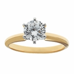 1.5 Carat Round Cubic Zirconia Six Prong Classic Solitaire Engagement Ring