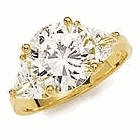 1.5 Carat Round with Trillions Cubic Zirconia Engagement Ring