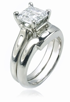 1.5 Carat Sex and the City Inspired Step Cut Square Cubic Zirconia Bridal Set with Contoured Matching Band
