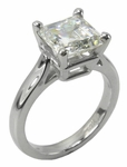 1.5 Carat Step Cut Square Cubic Zirconia Sex and the City Ring Inspiration Solitaire Engagement Ring