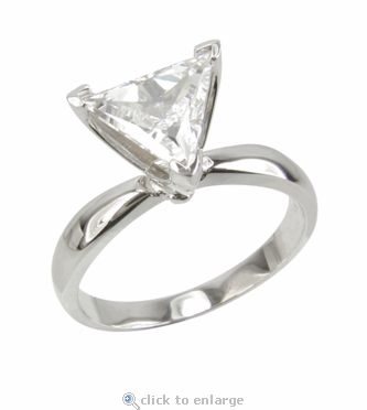 1.5 Carat Triangle Trillion Cut Cubic Zirconia Classic Solitaire Engagement Ring