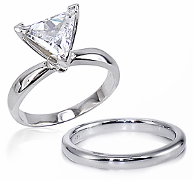 1.5 Carat Trillion Classic Cubic Zirconia Solitaire Engagement Ring with Matching Wedding Band