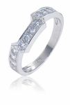 1.5 Carat Winston Cathedral Cushion Cut Cubic Zirconia Bridal Set with Contoured Matching Band