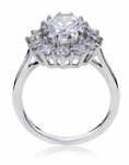 1.50 Carat Cubic Zirconia Oval Halo Cluster Kate Middleton Style Engagement Ring