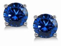 1.50 Carat Each Round Man Made Lab Created Synthetic Sapphire Stud Earrings