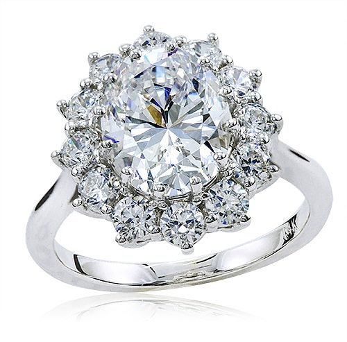 1.50 Carat Cubic Zirconia Oval Halo Cluster Kate Middleton ...