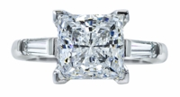 1.50 Carat Princess Cut Cubic Zirconia Baguette Solitaire Engagement Ring