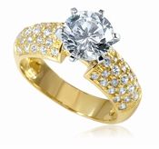 Pave Splendor 1.5 Carat Round Wide Pave Cubic Zirconia Solitaire 14K Yellow Gold