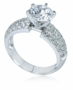 Pave Splendor 1.5 Carat Round Wide Pave Cubic Zirconia Solitaire 14K White Gold