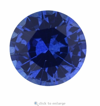 1 Carat 6.5mm Round Blue Sapphire Lab Created Synthetic Loose Stone