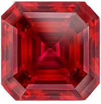 1 Carat 6mm Asscher Cut Ruby Lab Created Synthetic Loose Stone