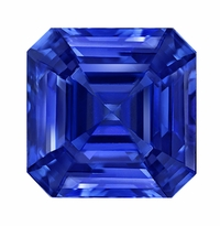 1 Carat 6x6mm Asscher Cut Blue Sapphire Lab Created Synthetic Loose Stone
