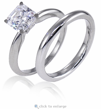 1 Carat Asscher Cut Cubic Zirconia Classic Solitaire Engagement Ring with Matching Band Wedding Set