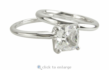 1 Carat Cushion Cut Cubic Zirconia Square Classic Solitaire Engagement Ring with Matching Band Wedding Set