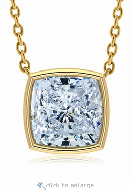 1 Carat Cushion Cut Square Bezel Set Floating Solitaire Pendant 14k Yellow Gold