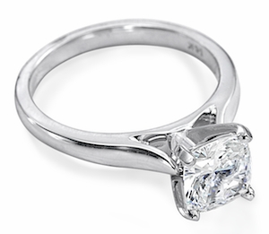 1 Carat Cushion Cut Square Cubic Zirconia Cathedral Solitaire Engagement Ring