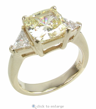 1 Carat Cushion Cut with Trillions Three Stone Cubic Zirconia Engagement Ring