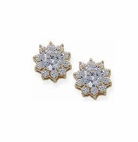 1 Carat Each Center Round Cubic Zirconia Cluster Earrings - Large Version