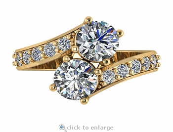 1 Carat Each Cubic Zirconia Bypass Two Stone Round Pave Engagement Ring