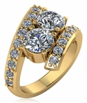 1 Carat Each Cubic Zirconia Two Stone Round Bypass Pave Engagement Ring