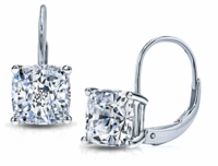 1 Carat Each Cushion Cut Cubic Zirconia Leverback Euro Wire Earrings