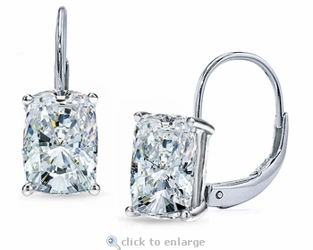 1 Carat Each Elongated Cushion Cut Cubic Zirconia Leverback Earrings