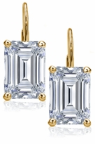 1 Carat Each Emerald Step Cut Cubic Zirconia Leverback Earrings