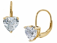 1 Carat Each Heart Shape Cubic Zirconia Leverback Earrings
